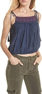 Free People Women's Eternal Love Embroidery Top, Blue Combo