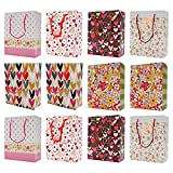 Asian Hobby Crafts Printed Paper Bags, Pack of 12pcs Party Favor/Gift Paper Bag for Birthday/Baby Shower/Anniversary Size: H-9.5 x L-7.5 x W-3.5 Inch