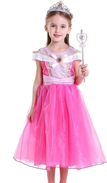 Robe Princesse Fille Liuimiy Deguisement Costume Enfant Rose D Halloween Carnaval Cosplay Anniversaire Fete Avec Baguette Magique Couronne 98 104 Lable 100cm 2 3 Ans Amazon Fr Bebes Puericulture