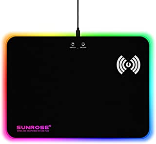 CHONCHOW RGB Aurora Gaming Mousepad with Backlit Lighting Effects -LED Big Hard Gaming Mouse Pad with Backlit Perimeter and Wireless Charging Area