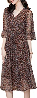 Womens V Neck Floral Print Dress Ruffles Sleeve Loose Flowy Dress With Belt غير رسمي (Color : Brown, Size : XL)