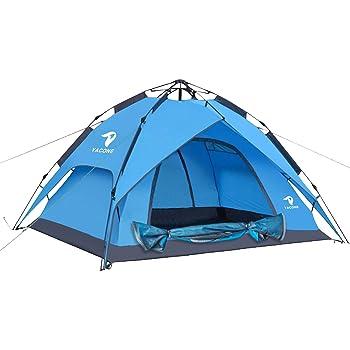 YACONE テント 3~4人用 ワンタッチテント 二重層 ワンタッチ2WAY テント 設営簡単 uvカット加工 防風防水 折りたたみ 超軽量 防災用 キャンプ用品 アウトドア 耐水圧3000mm 3色選択