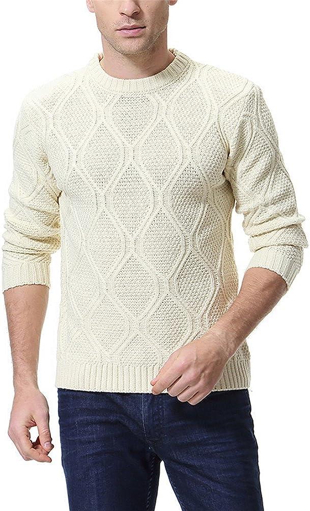 AOWOFS Men's Pullover Sweater Fashion Slim Fit Diamond Pattern