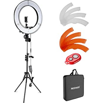 JIAX Outer Dimmable Tabletop Ring Light Kit for Photo Studio Portrait Video Shooting Color : Style 6 LED Dimmable Ring Video Light 3 Light Modes,Phone Holders,Brightness