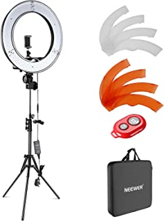 Neewer Camera Photo Video Lighting Kit: 48 centimeters Outer 55W 5500K Dimmable LED Ring Light Light Stand Bluetooth Recei...