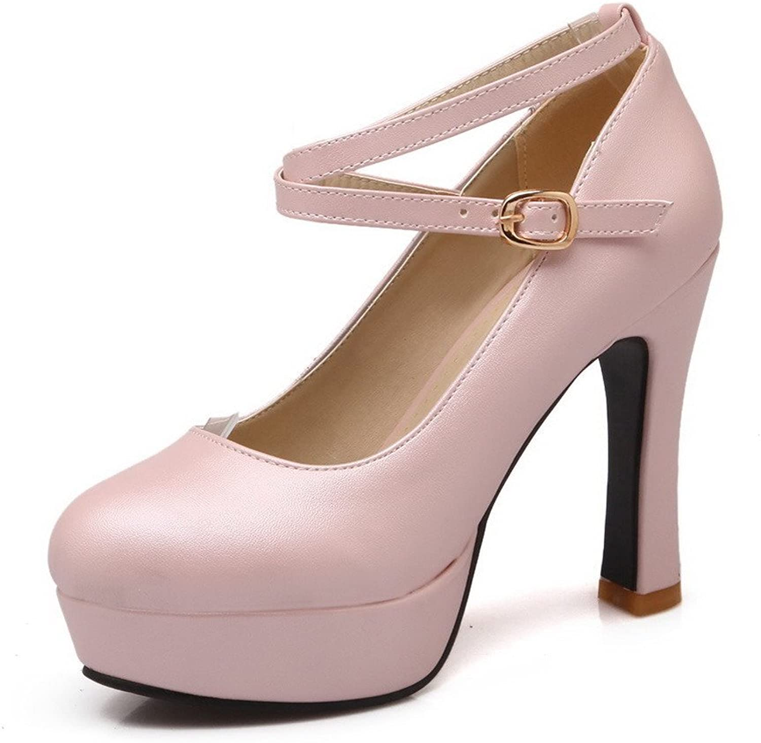 AllhqFashion Women's Solid Soft Material High Heels Buckle Round Closed Toe Pumps shoes