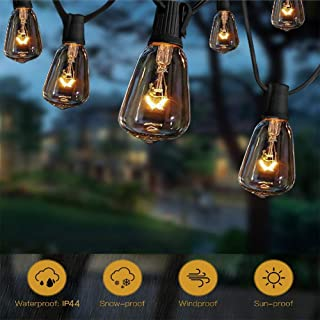 10Ft String Lights with 11 Clear Edison Light Bulbs, UL Listed E12 Base for Party Porch, Backyard Patio-Black Wire