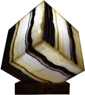 """Lampada a cubo 20cmx20cm in marmo di onice """"Galactea"""""""