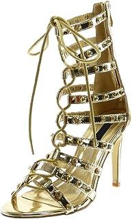 709f5793a287d Angkorly - Chaussure Mode Bottine Sandale Stiletto Montante Spartiates Femme  Multi-Bride clouté Strass Diamant