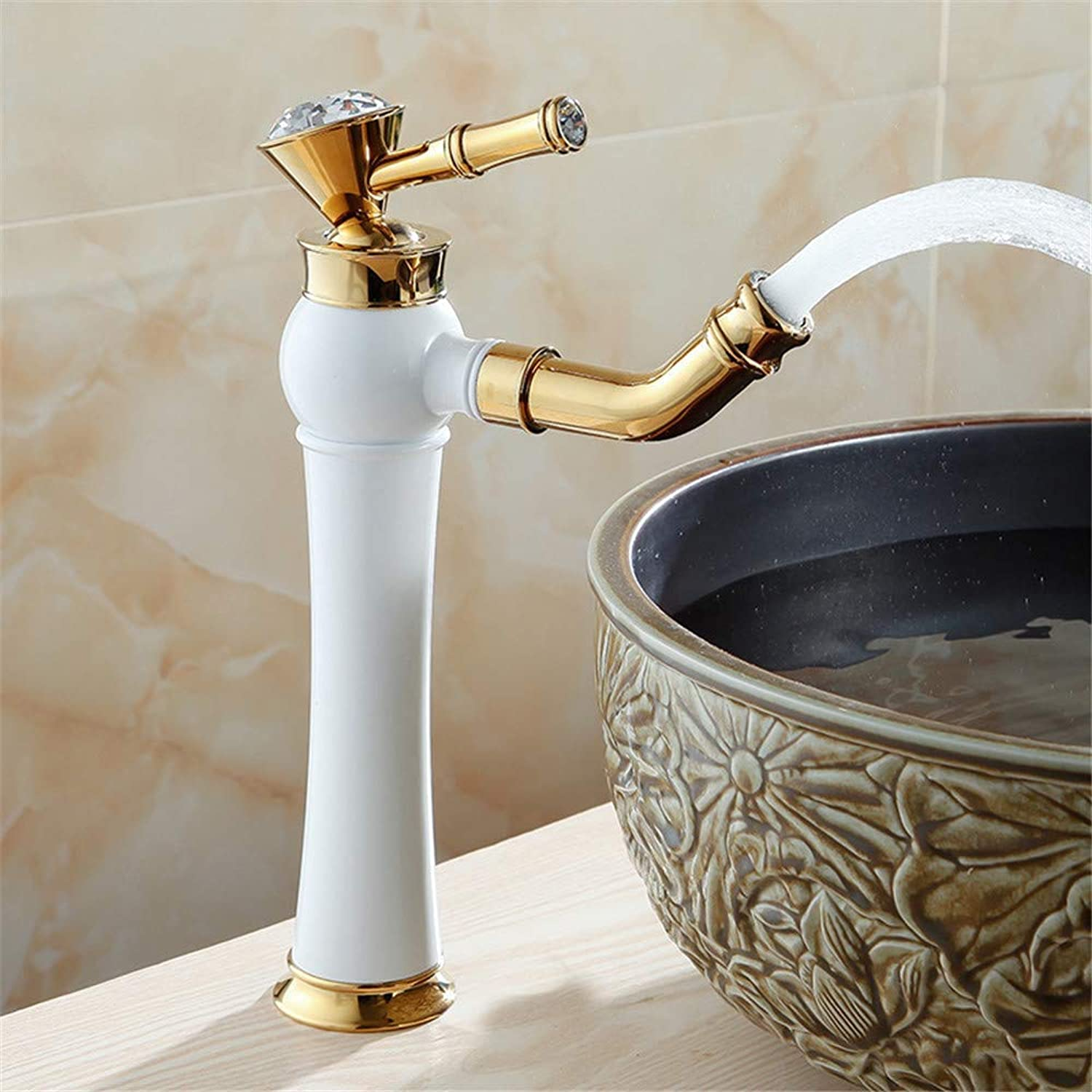 Oudan European New Luxury Crystal Silver Antique gold Black bluee and White Porcelain Base Kitchen Bathroom Faucet B (color   E, Size   -)