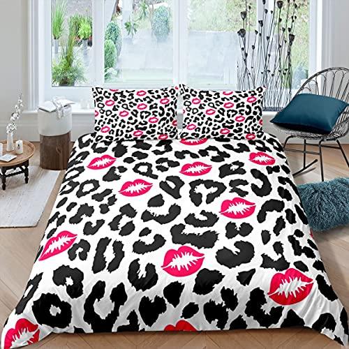 richhome Juego de ropa de cama de 3 piezas, funda de edredón de piel de animal de leopardo tropical, color blanco y negro ultra suave, funda de edredón de doble tamaño