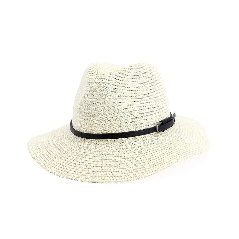 雑種テントブレンドJieming 男性女性ファッション夏フェドーラヴィンテージワイドつばストロージャズ帽子付きレザーベルトピンク教会帽子カジュアルサンビーチキャップ (色 : クリーム, サイズ : 56-58CM)