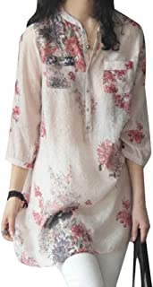 GRMO Women's Floral Print Baggy 3/4 Sleeve Plus Size Cotton Linen Top T-Shirt Blouse
