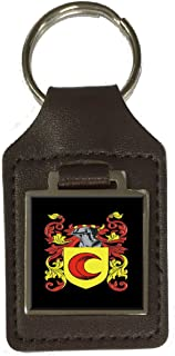 Snape Family Crest Surname Coat Of Arms Brown Leather Keyring Engraved