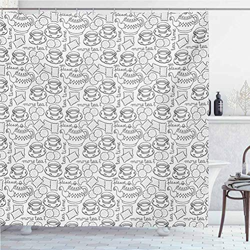 ScottDecor Tea Party Thanksgiving Shower Curtains for Bathroom Monochrome Style Tea Time Doodle with Pot Cups and Cookies Pattern Monochrome for Home and Hotel Grey White W36 x L72 Inch