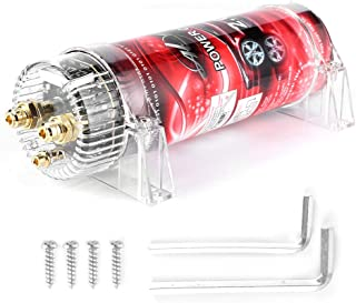 Car Audio Capacitor Fit for Systems Up to 2000W, 2 Farad Aluminum Alloy + ABS Car Audio Electric Power Capacitor Amplifier Voltage Regulator Red LED 10‑16V DC Modified Auto Parts