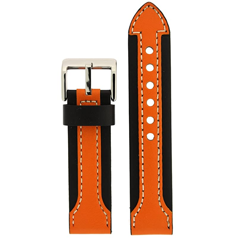 Watch Band Genuine Leather Strap Thick for Sports Watches Black Orange 20mm xs813258677