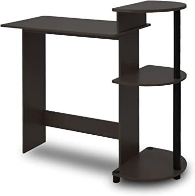 FURINNO Compact Bureaux d'ordinateur, Bois, Expresso, Taille Unique, Espresso/Noir, one size