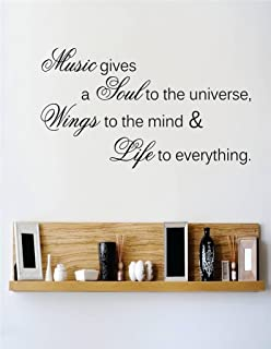 Top Selling Decals - Prices Reduced : Music Gives A Soul To The Universe Wings To The Mind & Life To Everything Quote Singing Church Gospel Choir Song Wall Sticker Size: 12 Inches X 18 Inches - 22 Colors Available