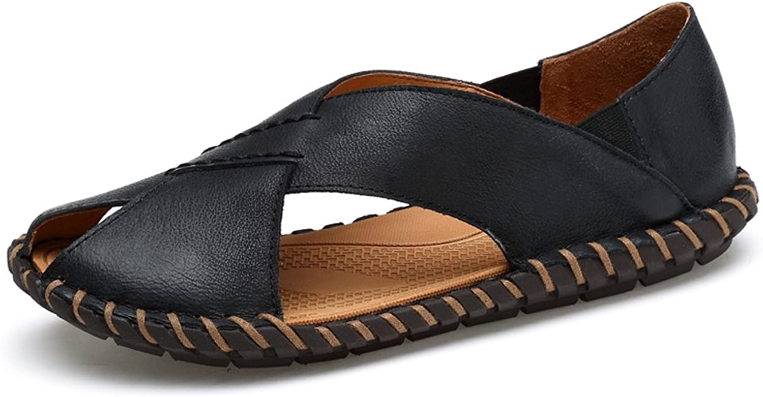 RONGLINGXING Fashion Summer Outdoor Lightweight Men's Genuine Cowhide Leather Beach Slippers, Elegant Business Casual Non-slip Handwork Sole Sandals (color   Black, Size   8.5 UK)