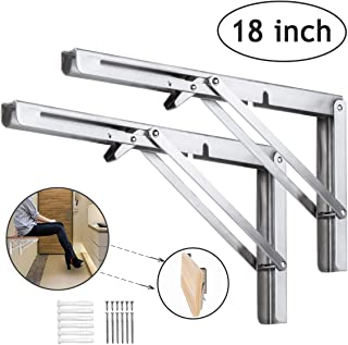 Folding Shelf Brackets 18 Inch Heavy Duty Brackets Stainless Steel Shelf Wall Mounted Collapsible Shelf for DIY Bracket Folding Bench Work Table Space Saving Wall Shelf