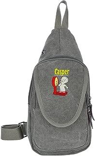 Casper The Friendly Ghost Casual Canvas Unbalance Backpack Sling Bag Men Shoulder Bag Chest Bag
