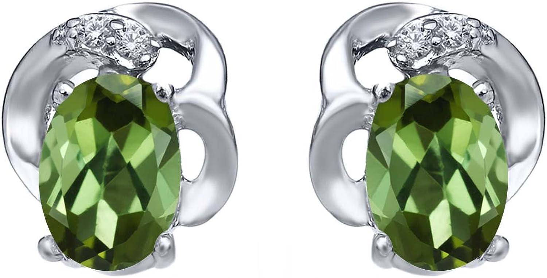 0.85 Ct Oval Green Tourmaline 925 Sterling Silver Earrings