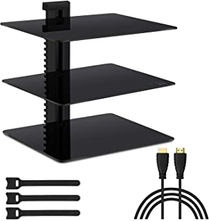 Floating Wall Mounted Shelf AV Mount Shelf - Holds up to 16.5lbs - DVD DVR Component Shelf with Strengthened Tempered Glass - Perfect for DVD Players, TV Box and Cable Box by PERLESMITH