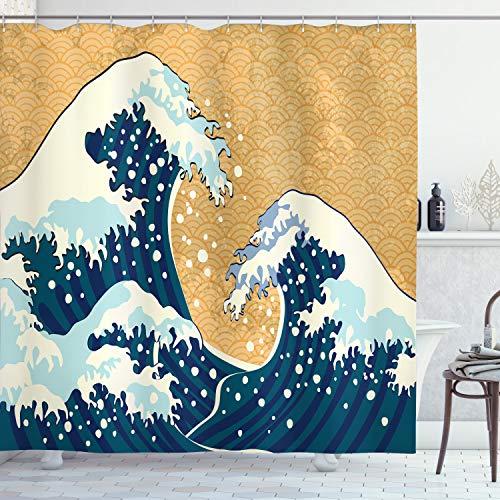 ABAKUHAUS Japanische Welle Duschvorhang, Schäumende Sea Storm, Waserdichter Stoff mit 12 Haken Set Dekorativer Farbfest Bakterie Resistet, 175 x 180 cm, Erde Gelb Dunkelblau Weiß