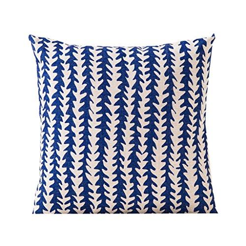 Oreiller confortable en coton Coussin de taille Coussin minimaliste en coton dossier de lin chaise de bureau Dossier Bureau Accueil Motifs géométriques bleu 45 * 45cm