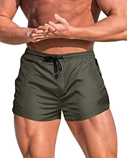 MIZOK Men's Fitted Gym Shorts Bodybuilding Sports Running Tight Shorts Swim Trunks with Mesh Lining