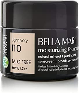 Bella Mari Natural Moisturizing Foundation, Light Ivory (I10); 1.7floz Glass