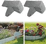 Plástico Valla para Jardín Imitación Piedra, Bordes de jardín de plástico con efecto piedra, valla de jardín para separar el césped del jardín y los parterres (lote de 10)