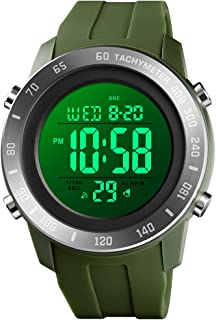 Mens Digital Multi-Function Watch 2 Time Black Rubber Alarm Stopwatch Countdown Date Green Backlight Swim Waterproof Watches