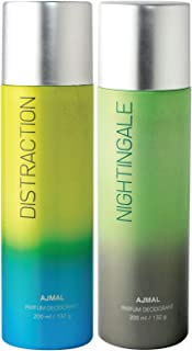 Ajmal Distraction & Nightingale Deodorant Combo pack of 2 Deodorants 200 ml each (Total 400ML) for Men & Women + 2 Parfum ...