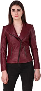 Leather Retail® Cherry colour Italian Style Faux Leather Jacket For Woman
