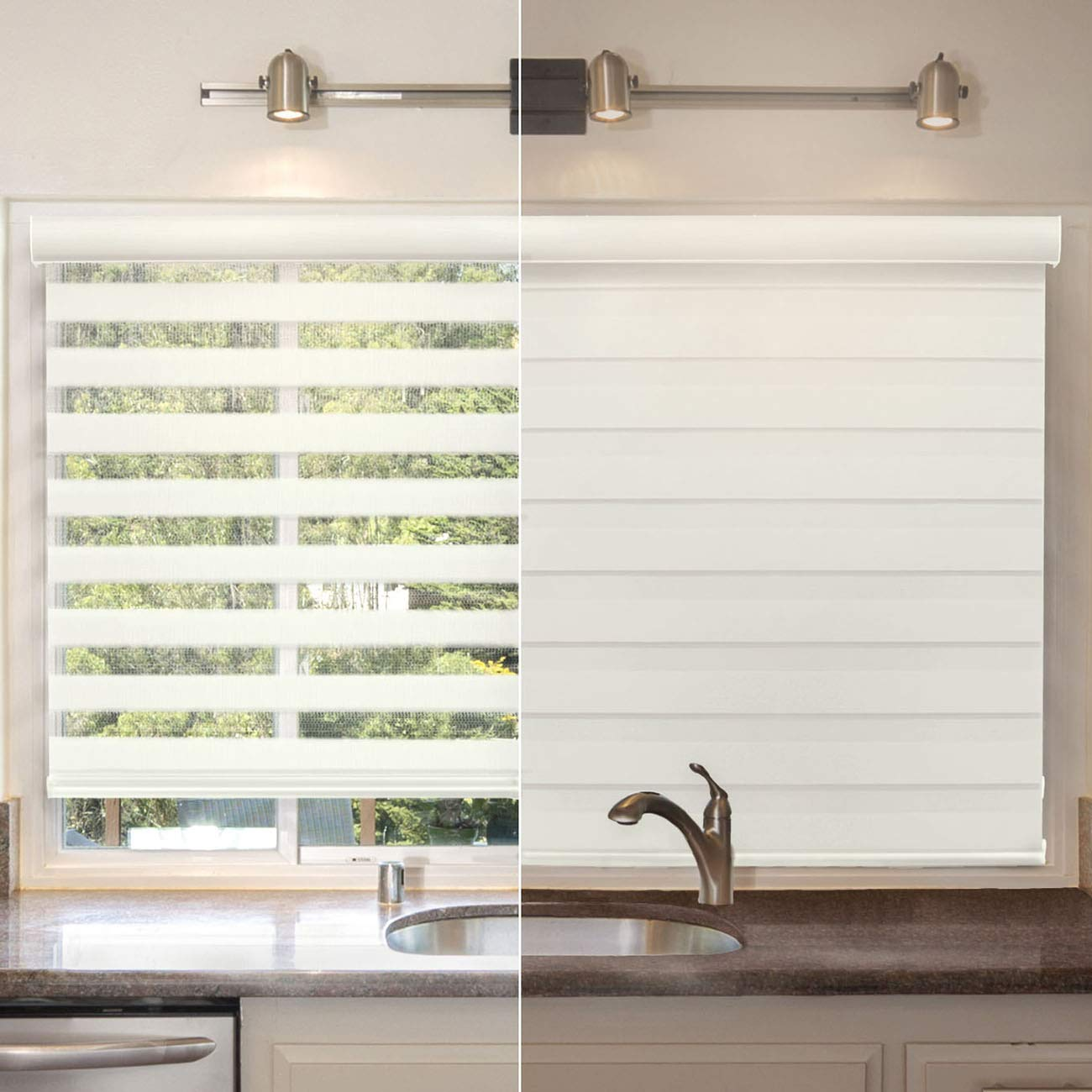Chicology Free-Stop Cordless Zebra Roller Shades // Combi Blind Curtain Drape 36W X 72H Striped Dove Dual Layer Sheer or Privacy