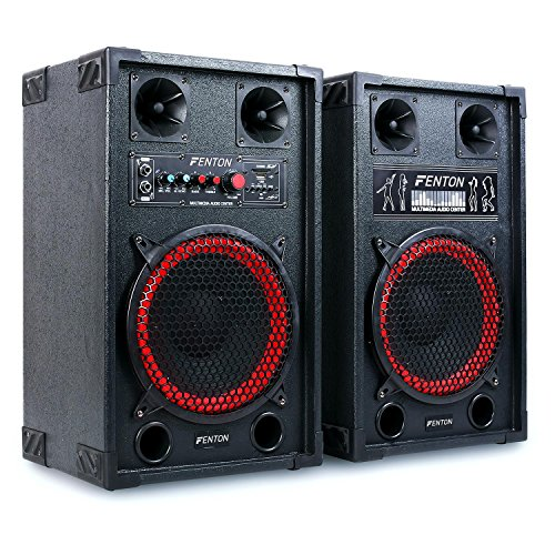 "Fenton SPB-10 - PA Lautsprecher Set, Aktiv und Passiv Box, 600 Watt max. an 8 Ohm, 25cm (10\"")-Subwoofer, 2-Band-Equalizer, USB-Port, SD-Slot, 2 x 6,3 mm-Klinke-Mic-In, Cinch-Line-In, schwarz"