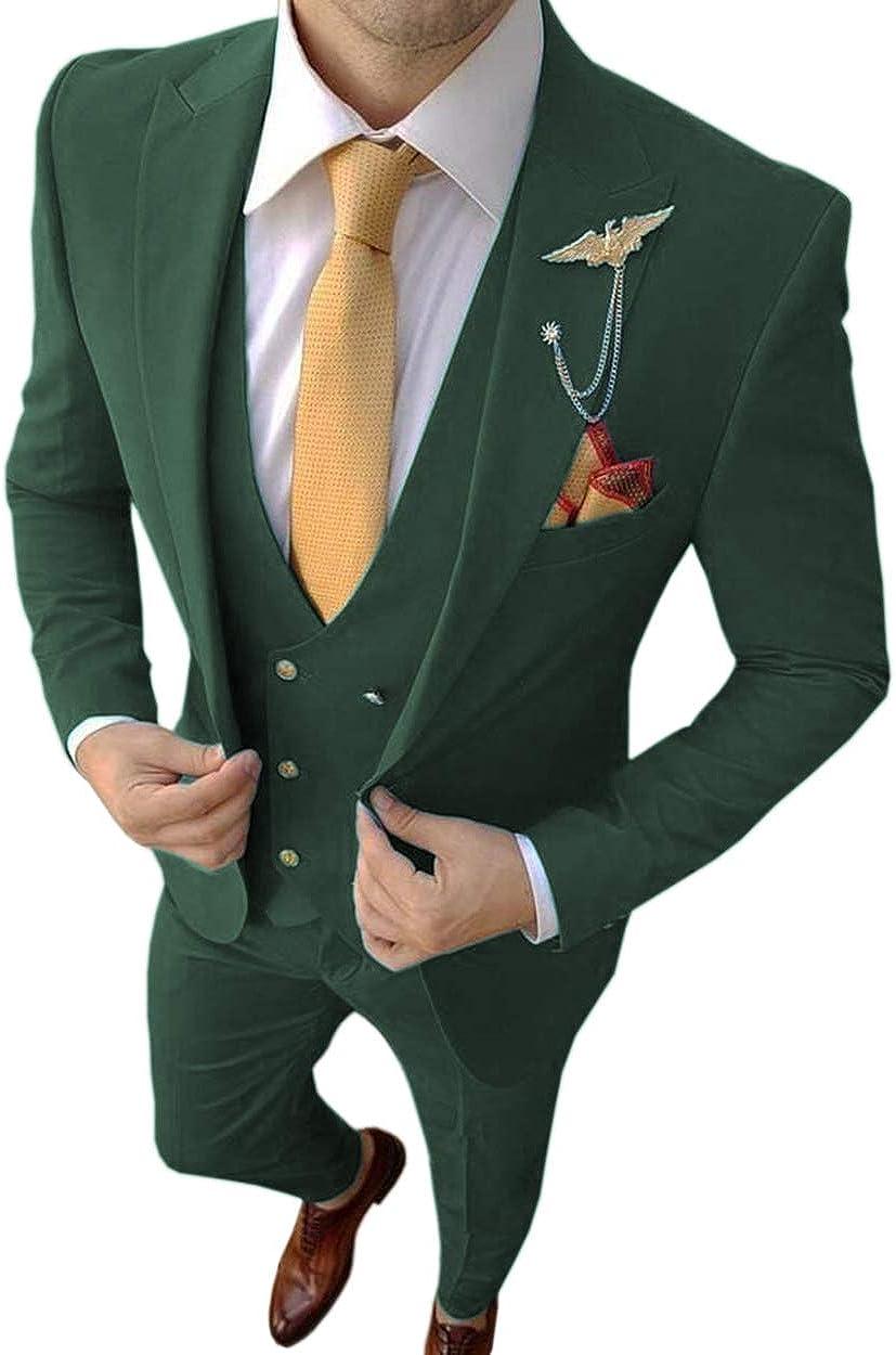 Men's 3 Piece Formal Men Suit Set Vest Groomsmen Tuxedos Blazer Skinny Dress Suits