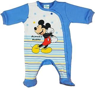 Kleines Kleid Langarm Baby Jungen Mickey Mouse Strampler Overall Weiß Blau Disney mit Füsschen 100% Baumwolle in Größe 56 62 68 74 für 0 3 6 Monate und Frühchen mit Patentknöpfe und Fuß