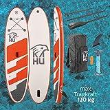 KAHU® Joy 9'8'' Stand up Paddling Board – aufblasbares iSUP Board komplett Set inkl. Alu-Paddel und Pumpe - Allroundboard für Einsteiger – 15cm Dick – 120kg Traglast – Kajak Sitz als Zubehör – Orange