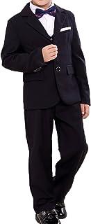 (モリハニ) moli&hani ボーイズ 正式 洋服 フォーマル スーツ 子供 無地 柄 結婚式 発表会 ジャケット ベスト ズボン 3点set 100 110120 130 140 150 160 ブラック ネイビー