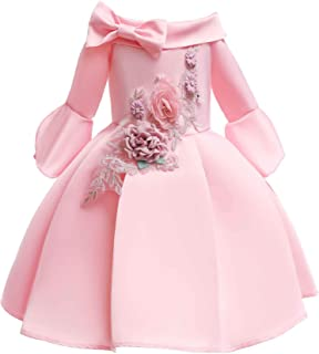 Girl's Princess Dress Off-The-Shoulder Sleeves Girls A-Line Dress Skirt Children's Delicate Embroidered Bow Decor Pleated ...