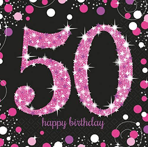 amscan 9900611 16 Servietten 50.Geburtstag Sparkling Celebration, Schwarz/Pink