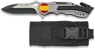 Albainox 19627GR1018 - Navaja seguridad ESPAÑA, Mango de aluminio, Hoja sin sierra de 6.5 cm, Funda de nylon, gris