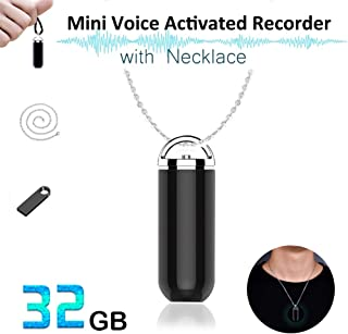 Voice Recorder, Hfuear 32GB Mini Voice Activated Recorder with Necklace, 2400 Hours Recordings Capacity, 24 Hours Battery Life, Ultra Small Keychain Audio Sound Recorder for Online Lectures, Meetings