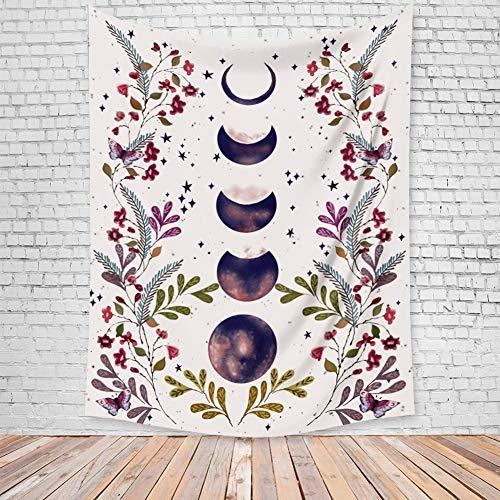 Asudaro Tapiz de pared bohemio con diseño de luna y flores, fondo psicodélico, decoración para el hogar, manta de playa, mantel, toalla de playa, colcha, decoración bohemia. Diseño 1 M:100 x 1