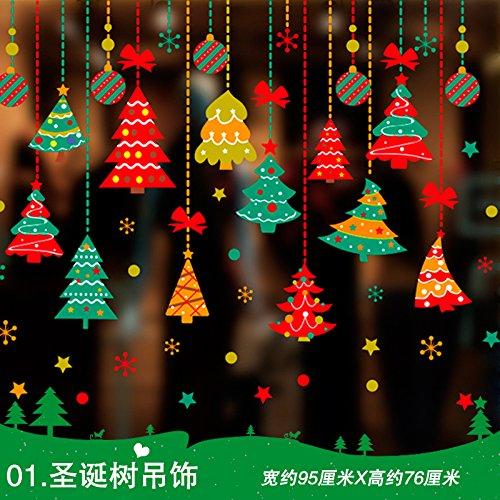 Kerstgordijnen slaapzaal melk thee winkel decoraties raam sticker glas deur raam muur posters sterren,01. plafond versierd kerstboom