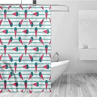 GloriaJohnson Ice Cream Extra Wide Shower Curtain Cartoon Geometrical Fabric Shower Curtains for Bathroom W78 x L72 Inch