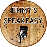 Rustic Home Decor Personalized Whiskey Barrel Lid Retro Speakeasy Downstairs Basement Enterance Drinking Bar Sign Man Cave Wood Wall Art